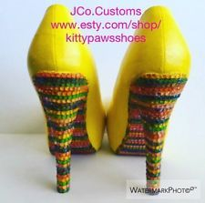 "JCo.Customs by Kitty Paws Shoes Women's Yellow Multi-Color High Medium 6"" Pumps"