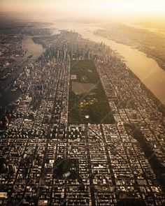 New York City Photography, Aerial Photo of Manhattan at Sunset, Cityscape Wall Art Central Park, Empire State Building, New York Photos, Thing 1, Concrete Jungle, City Photography, Aerial View, Marathon, Airplane View