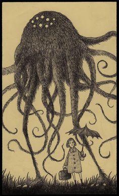A monster drawing by John Kenn. Kind of looks like a furry version of the monsters in War of the Worlds. don kenn gallery Monster Drawing, Monster Art, Arte Horror, Horror Art, Don Kenn, Post It Art, Creepy Drawings, Ghost In The Machine, Arte Obscura