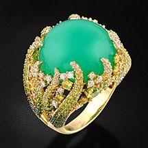Кольцо с хризопразом, цветными камнями и бриллиантами в желтом золоте 750 пробы…