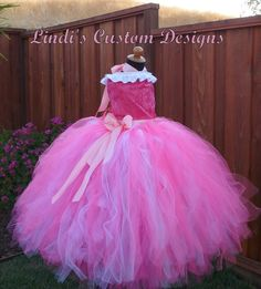 Sleeping Beauty Princess Aurora inspired Gown Tulle Tutu Ensemble Costume for Girls 2 - 6T