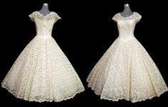 Vintage 50s Wedding Dress // 50s Ivory Lace CAHILL Princess Wedding Dress // 1950s Tea Length Bridal Dress