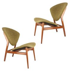 Pair Sculptural Lounge Chairs in the Style of Hovmand Olsen, 1950s Danish Modern   From a unique collection of antique and modern lounge chairs at https://www.1stdibs.com/furniture/seating/lounge-chairs/