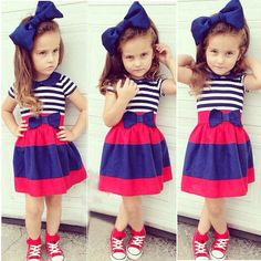 3pcs Toddler Baby Girls Outfits Headband+T-shirt+Striped Skirt Kids Clothes Set #Unbranded #Dressy
