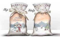 Karácsonyi álom zsák levendulával, maci és hóember
