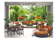 """""""Paradise Lounge"""" by irina-demydovych ❤ liked on Polyvore featuring interior, interiors, interior design, home, home decor, interior decorating, TradeMark, Nearly Natural, International Caravan and Keter"""