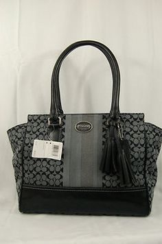 Coach Legacy Signature Stripe Candace Carryall Tote Handbag 19915 Black GY | eBay