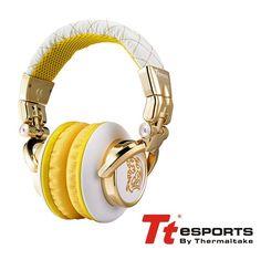 Auriculares Tt eSPORTS Dracco Blanco-Amarillo Plegable con Bolsa, diseñada especialmente para DJ ya que proporcionan un control profesional en mezclas