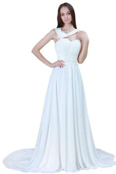 GEORGE BRIDE Beaded Halter Chiffon Chapel Train Beach Wedding Dress Size 16 Ivory