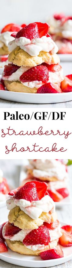 Classic strawberry shortcake is made gluten-free dairy-free and paleo yet its every bit as delicious as the original! Grain free Paleo biscuits are filled with lightly sweetened strawberries and an easy coconut whipped cream for a fun anytime dessert Gluten Free Treats, Gluten Free Desserts, Dairy Free Recipes, Healthy Treats, Healthy Desserts, Just Desserts, Delicious Desserts, Paleo Recipes, Happy Healthy
