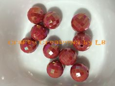Ten (10) 20mm shiny red disco bubblegum/chunky beads by CraftyCreationsByLB on Etsy