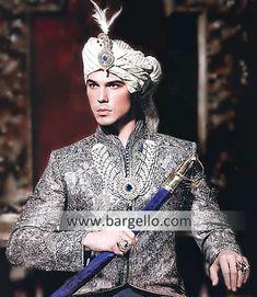 Sherwani and Kulla, Sherwani Turban, Sherwani For Weddings, Red Sherwani, Black… Blue Sherwani, Sherwani Groom, Wedding Sherwani, Indian Man, Indian Groom, Ethnic Fashion, Indian Fashion, Mens Fashion, Groom Wear