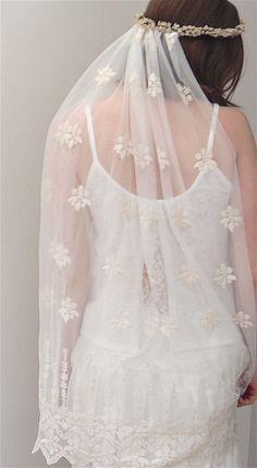 Boho bridal flower crown and detachable veil  by PelicanRoseBride