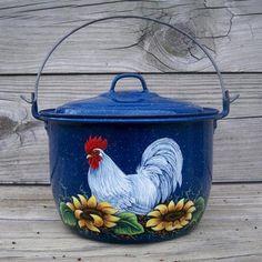 Vtg Blue Splatterware Berry Pail Kettle HP Rooster Art Sunflowers Country Farm   eBay