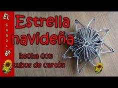 Estrella navideña hecha con tubos de cartón - Christmas star made with cardboard tubes - YouTube