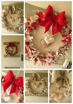 A rag wreath just find a tutorial on how tom make one and once finished applying the fabric, add something to the middle...yuu are done.