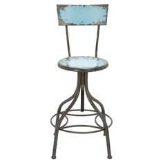 Lend a factory-chic touch to your home bar or kitchen island with this striking stool, showcasing a weathered teal finish and classic swivel design.%0D%0A%0D%0A ...