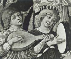 National Gallery, London, Matteo di Giovanni di Bartolo - sec. XV - Assunzione della Madonna: angeli musicanti - particolare