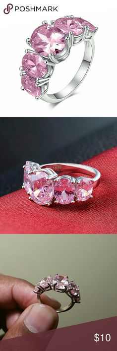 CZ Pink Ruby S925 Silver Filled Wed Ring Cubic zirconia Pink Ruby S925 Silver Filled Wedding, Engagement & Anniversary Ring!  Gorgeous fashion, wedding, anniversary or for daily wear or evenings.   Women's ring sizes available: 6, or 8 (Pls comment or msg us size, thanks!)  100% brand new in pack, we took out of pack for display photography only.  While they last! Limited quantities available!  Quantity: 1 x Ring Fast Free Shipping (2-6 business days) Handling time (1 business day)  If you…