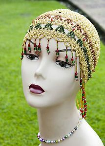 1920s Hats | 1920s Style Crocheted Ladies Hat/Beret/cap in gold lurex belly dancers ...