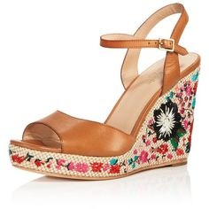 kate spade new york Jardin Embroidered Platform Wedge Sandals (3.386.935 IDR) ❤ liked on Polyvore featuring shoes, sandals, light brown, platform wedge shoes, kate spade shoes, embroidered sandals, kate spade sandals and light brown shoes