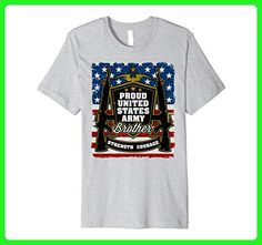 Mens Proud United States Army Brother Crest USA Flag T-shirt Large Heather Grey - Relatives and family shirts (*Amazon Partner-Link)