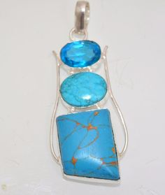Awesome Simulated Turquoise-Blue Topaz 925 Silver Plated Daily Wear Pendant A94 #valueforbucks #Pendant