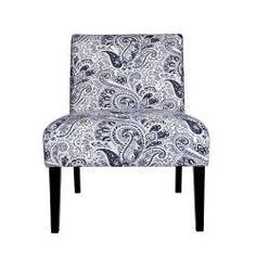 @Overstock - The Portfolio Niles armless chair features a gently tapered back and deep seat cushion for extraordinary comfort. The Niles chair is a small scale chair offering generous seating comfort and is covered in a beautiful navy blue paisley fabric.http://www.overstock.com/Home-Garden/Portfolio-Niles-Navy-Blue-Paisley-Armless-Chair/6807982/product.html?CID=214117 $149.00