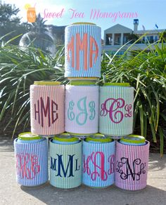 Seersucker Monogram Koozie by SweetTeaMonograms on Etsy, $12.50