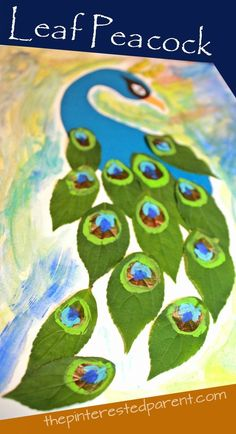 leaf peacock nature craft with printable template - kids arts and crafts projects made with painted leaves Arts And Crafts For Adults, Easy Arts And Crafts, Arts And Crafts House, Arts And Crafts Projects, Crafts For Kids, Peacock Crafts, Bird Crafts, Nature Crafts, Elderly Crafts