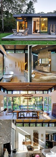 Robins Way by Bates Masi Architects is a complete renovation project of a 1960′s kit house in Amagansett, NY. The brief was to come out with a single design solution that could unify the old remaining parts of the house to the new intervention which should solve acoustical, lighting, equipment coordination and simultaneously address the aesthetic decor requirements of the client's collection of objects.