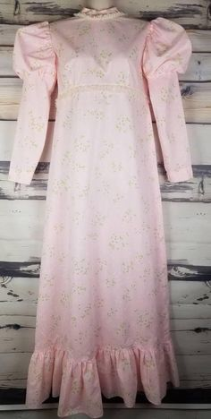 Vintage Pink Semi Sheer Floral Swiss Dot Lace Trim Full Length Prairie Dress Puffy Sleeves Hippie Boho Festival Flower Child Summer of Love