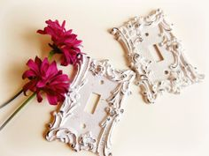 2 White Distressed Metal Light Switch Covers // by BloomingGoddess, $24.50