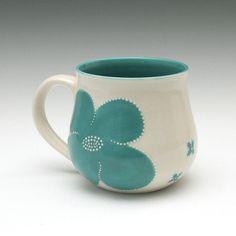Mug  Flower Mug in Turqoise by kimwestad