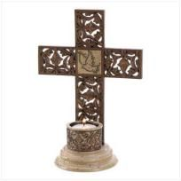 Faith takes on a special significance when you display this captivating cross with pride! Every intricate detail has the look of hand carved stone, and is especially lovely when illuminated by a golden candlelight. Weight 1.6 lbs. Resin. Tealight ...
