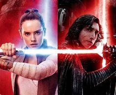 Rey and Kylo Ren.