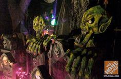 Halloween Decorating Ideas: Purple lights, fog, and a grim reaper