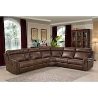 Clark 6 Piece Brown Reclining Living Room Sectional - AC Pacific you living large? Entertain and relax comfortably in style with this reclining sectional. This sectional does not lack in seating space or looks.There's enough room fo Leather Couch Sectional, Sectional Sofa With Recliner, Corner Sectional, Living Room Sectional, Leather Sofa, Living Room Furniture, Recliners, Brown Leather, Brown Sectional