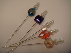 9B A collection of 5 hat pins for hats , corsage, or crafts £2.95