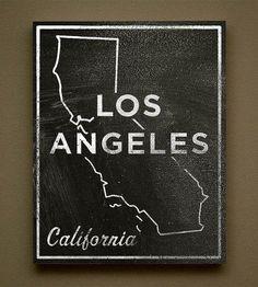 Los Angeles Chalkboard Print Wood Art