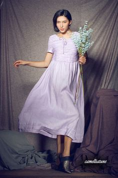 Stock  Long Linen Dress in Violet / Formal by camelliatune on Etsy, $69.00