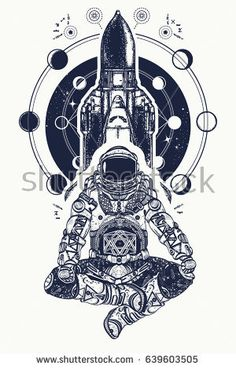 Space shuttle and astronaut in lotus position tattoo art. Symbol of meditation, education, science, harmony, yoga. Astronaut and Universe t-shirt design. Spaceman and shuttle