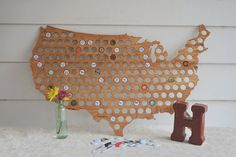 USA / United States beer cap map. The perfect Grooms or Groomsman gift.  Also a unique guestbook alternative from @beercapmaps