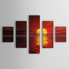 Hand Painted Oil Painting Landscape Sea with Stretched Frame Set of 5 1307-LS0353 – USD $ 229.99