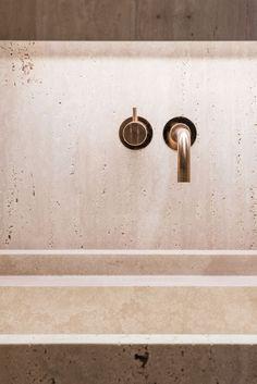 marmor-marmorporno-travertin-interieur-innenarchitektur-bad-vola-pinsel - The world's most private search engine Bathroom Spa, Bathroom Fixtures, Small Bathroom, Bathroom Showers, Remodel Bathroom, Budget Bathroom, Bathroom Ideas, Shower Ideas, Bathroom Interior Design