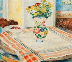 Arrangement with flowers in jugs and cherries on a plate - Arne Kavli Norwegian, Oil on canvas, 44 x 51 cm. Edouard Vuillard, Artist Art, Oil On Canvas, Cherries, Flowers, Plate, Paintings, Artists, Paint