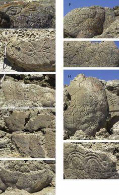 Details of different petroglyphs at Winnemucca Lake, Nevada. Image credit: L. V. Benson, et al.