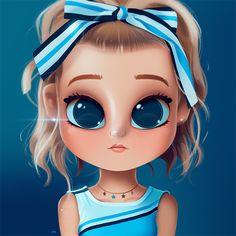 Cartoon, Portrait, Digital Art, Digital Drawing, Digital Painting, Character Design, Drawing, Big Eyes, Cute, Illustration, Art, Girl, Loren, Gray, Blue
