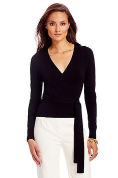 d225d5a6f55ee Ballerina Lightweight Wrap Sweater in in Black Black Sweaters