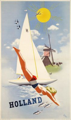 1950 Summer Sports in Holland vintage travel poster